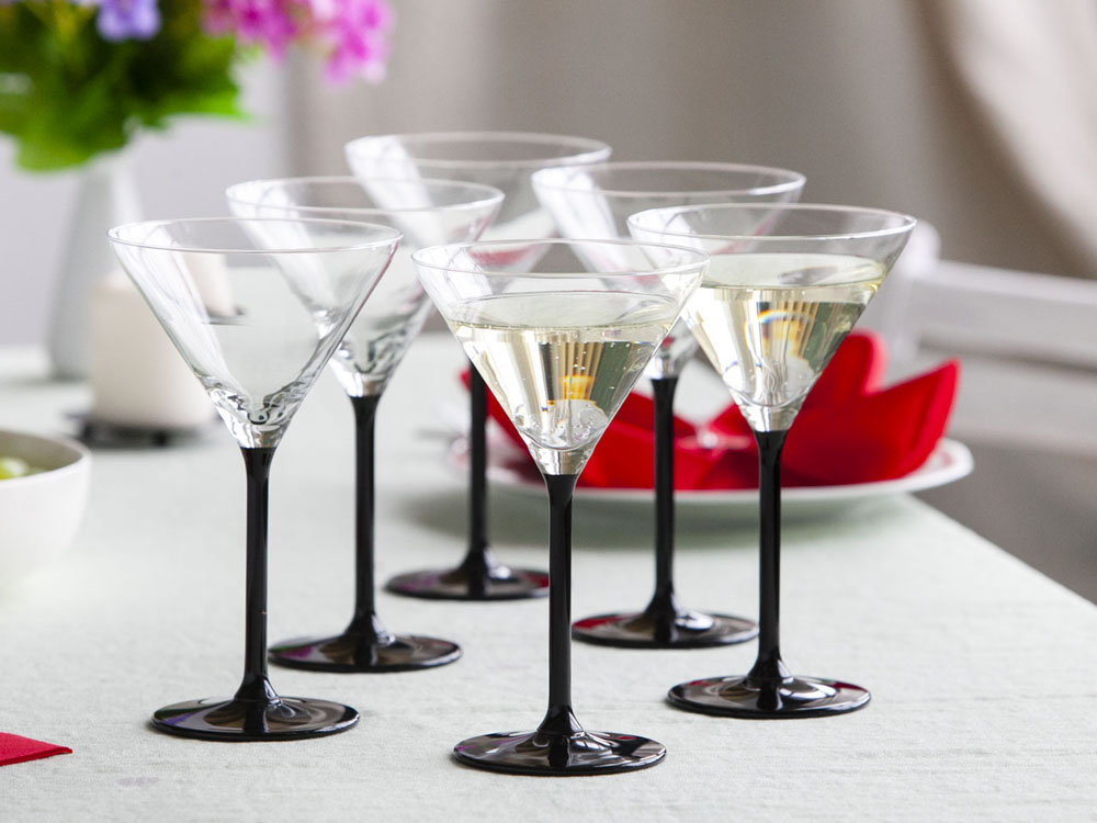 Onyx set of 6 martini glasses 260ml