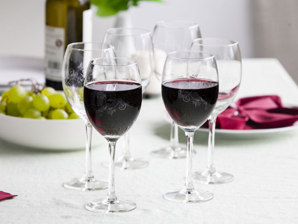 PEARL set of 6 red wine glasses 330ml dec.julietta
