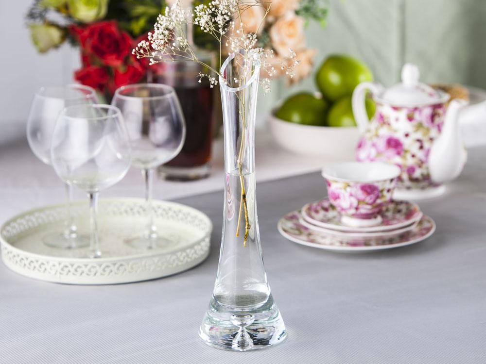 Wazon szklany na kwiaty z łezką 30 cm