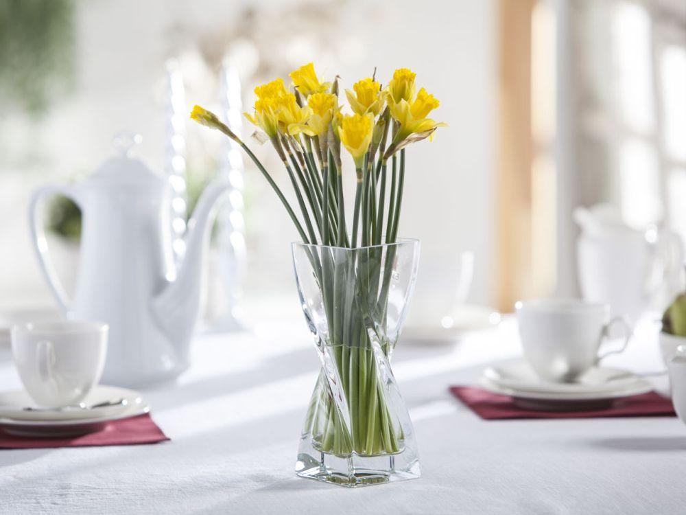 Wazon szklany na kwiaty skręcony niski 20 cm