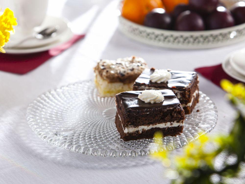 Patera szklana / talerz na ciasto Karo 28 cm na nóżkach