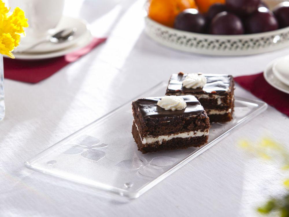 Tortownica / talerz szklany na ciasto niski prostokątny na nóżkach z kwiatem 32 cm