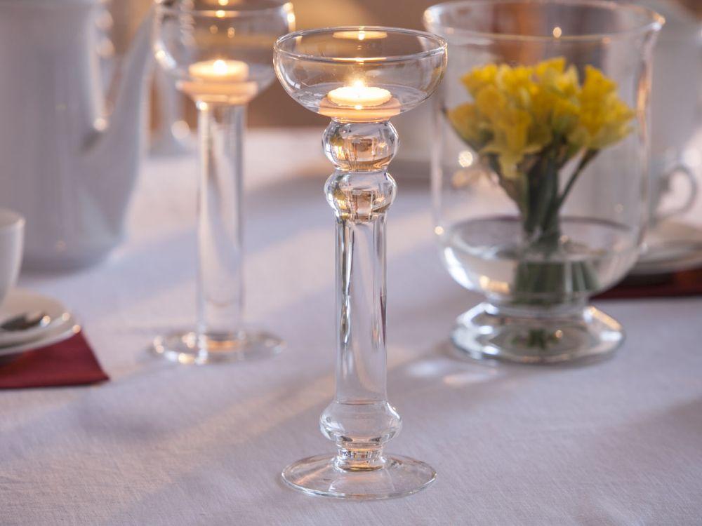 Świecznik szklany wodny dekoracyjny ozdobny na tealight Edwanex 28,5 cm