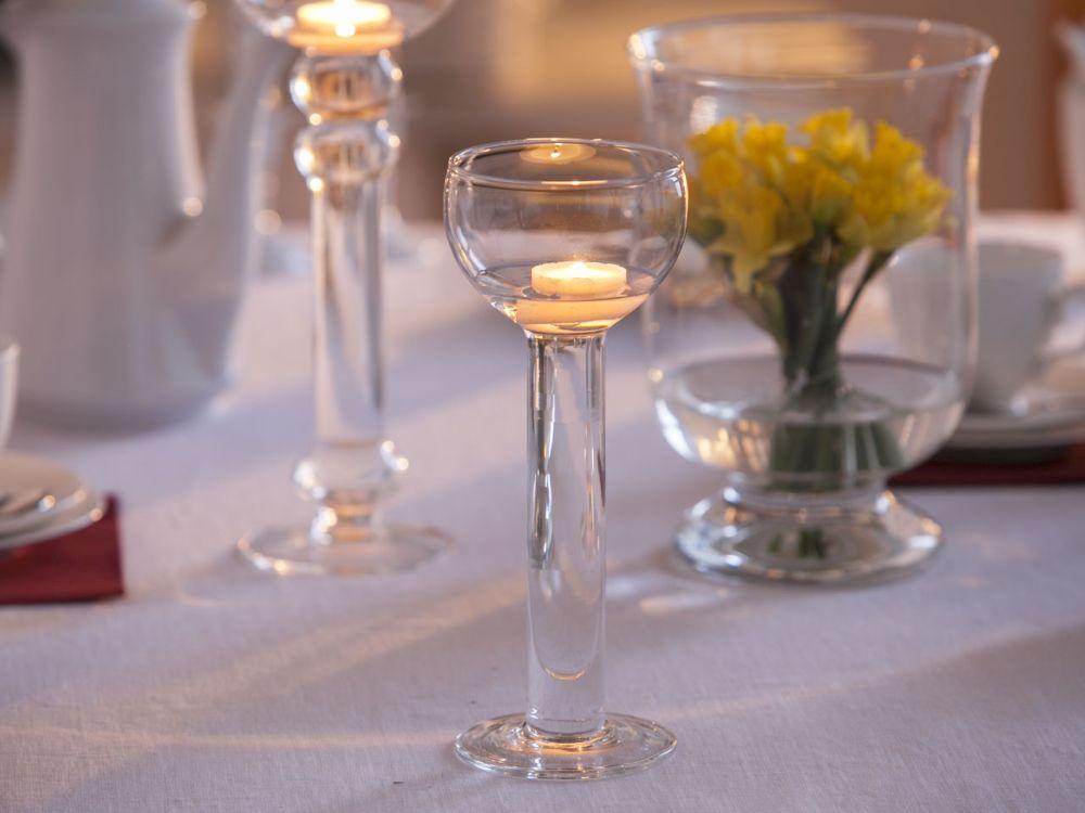 Świecznik szklany wodny ozdobny dekoracyjny na tealight Edwanex 26,5 cm