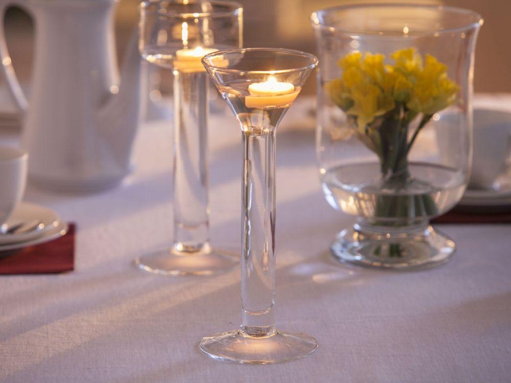Świecznik szklany wodny ozdobny dekoracyjny na tealight Edwanex 25,5 cm