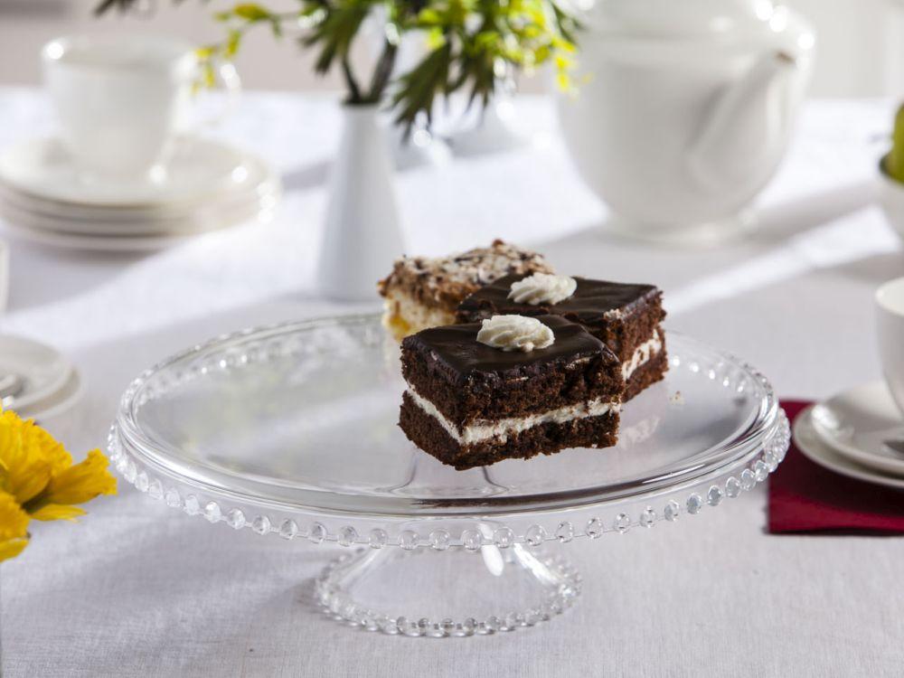 Tortownica / patera / talerz szklany na ciasto 32 cm z kuleczkami