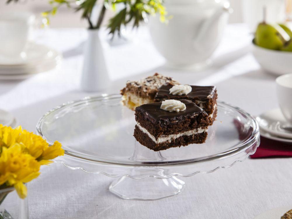 Tortownica / patera / talerz szklany na ciasto 32 cm z falbanką