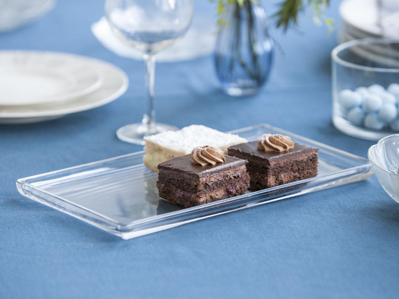 Tortownica / talerz szklany na ciasto niski prostokątny gładki 32 cm