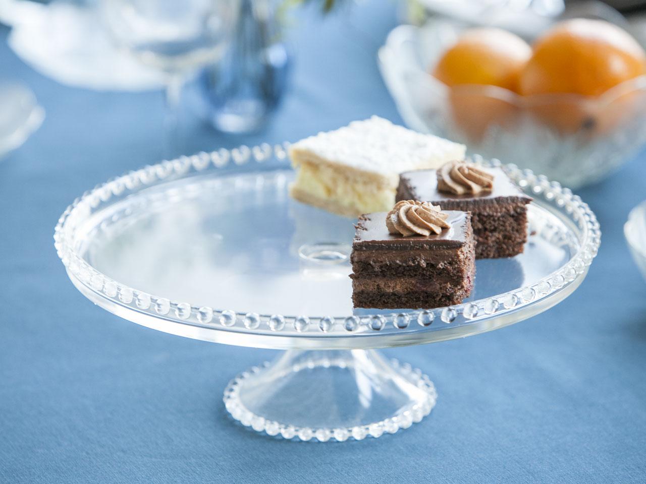 Patera / talerz szklany na ciasto / owoce 32 cm z kuleczkami