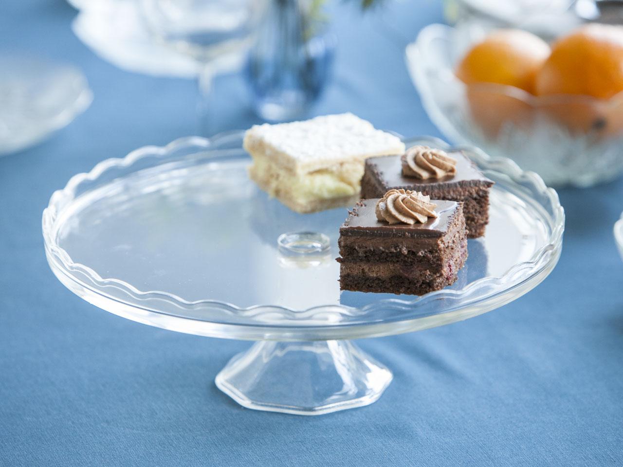 Patera / talerz szklany na ciasto / owoce 32 cm z falbanką