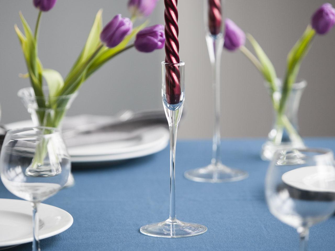 Świecznik ozdobny dekoracyjny szklany Edwanex Bocian 25 cm