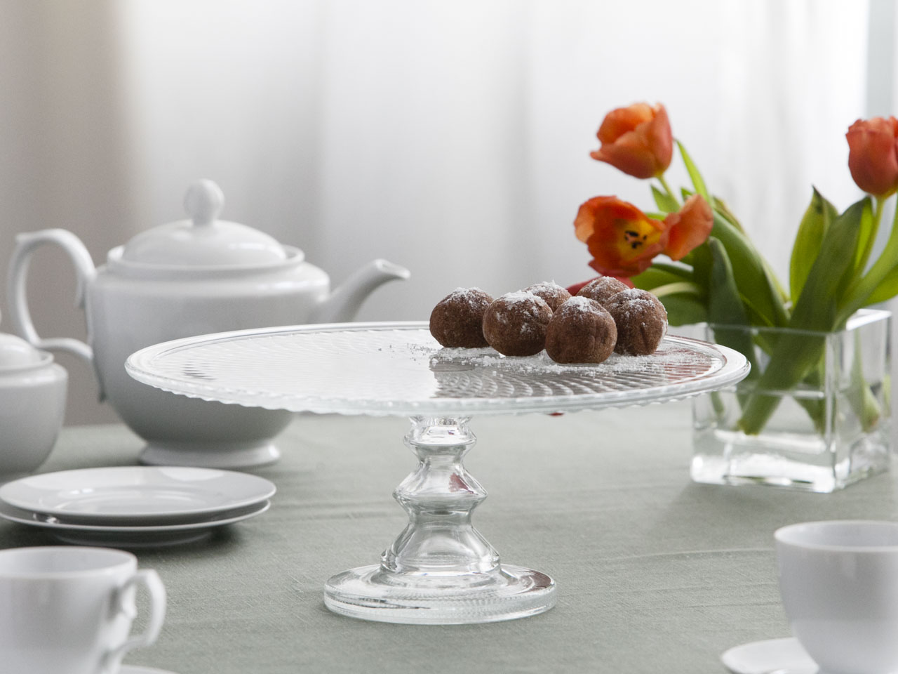 Tortownica / patera / talerz szklany na ciasto Karo 36 cm