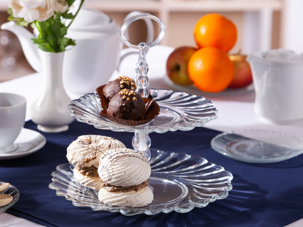 Patera na ciasto i tort piętrowa / etażerka dwupoziomowa Edwanex Helena