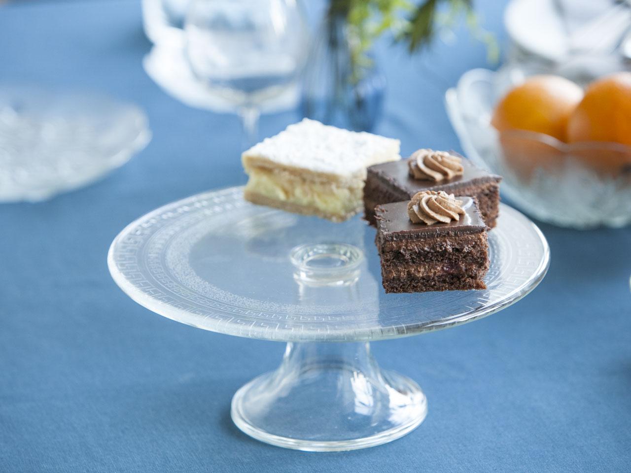 Patera szklana / talerz na ciasto Edwanex Grecja 27,5 cm