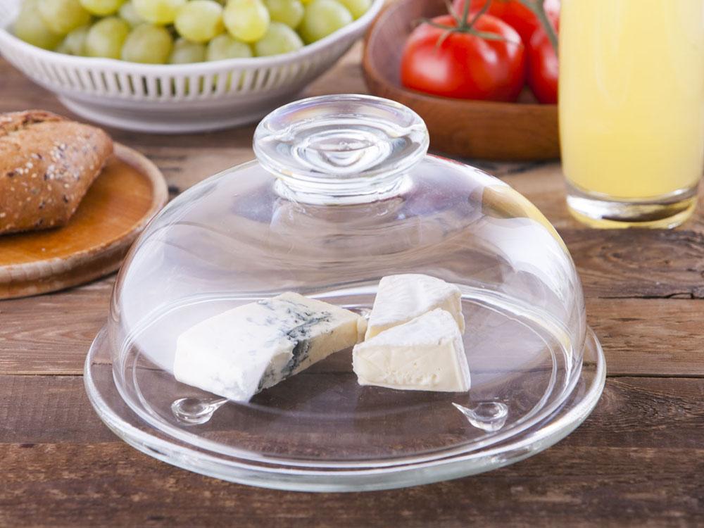 Talerz szklany z kloszem / pojemnik na ser ze szklanym spodem Edwanex 21 cm