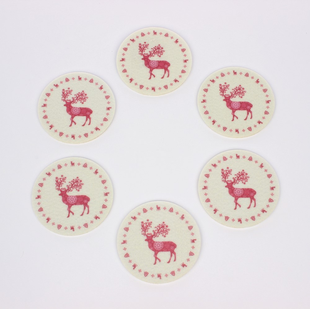 Podkładki pod kubek stołowe świąteczne filcowe Altom Design Renifer, komplet 6 sztuk