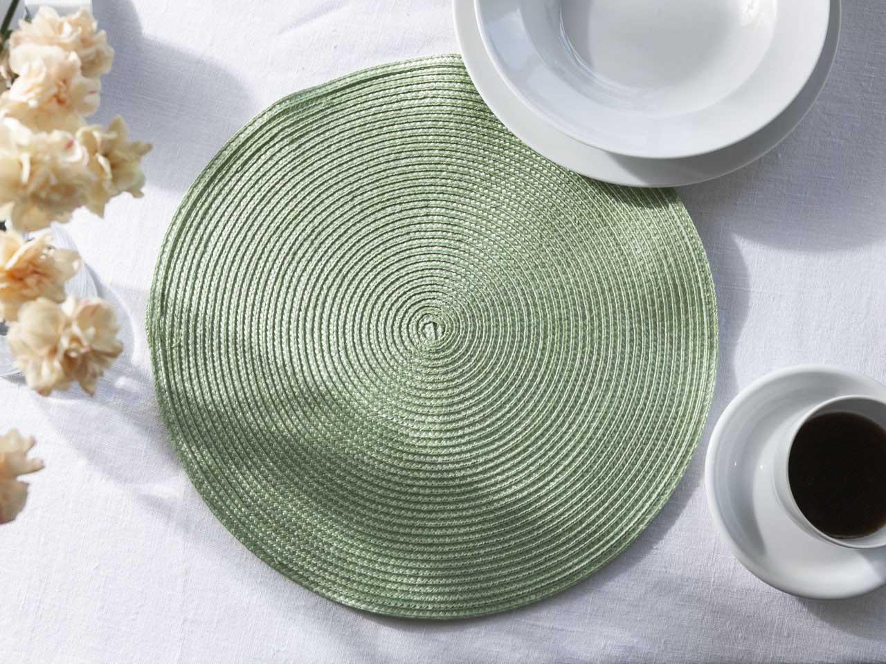 Podkładka na stół / mata stołowa słomkowa Altom Design 38 cm Zielony