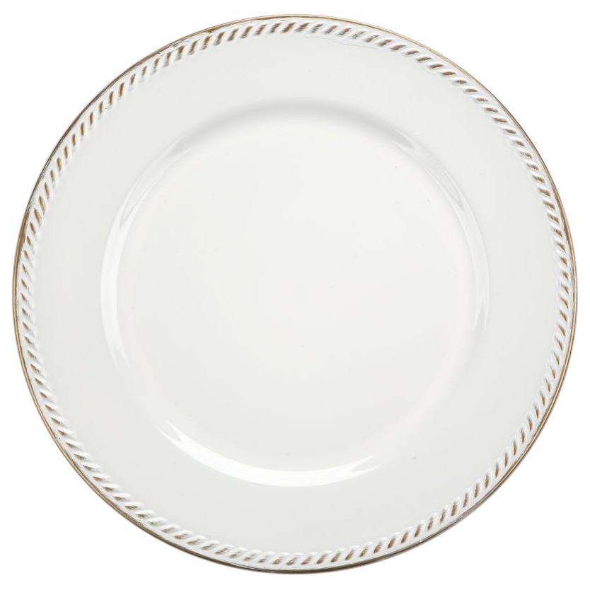 Podkładka pod talerz / na stół Altom Design Biała ze złotym wykończeniem 33 cm