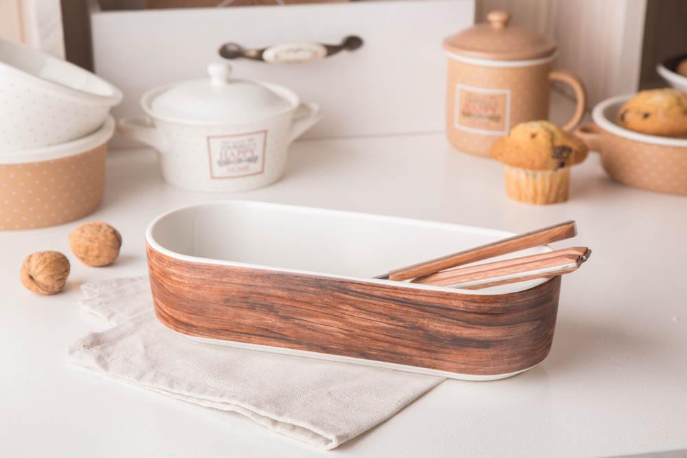Naczynie do zapiekania porcelanowe Altom Design Happy Home 26 cm owalne dek. drewno