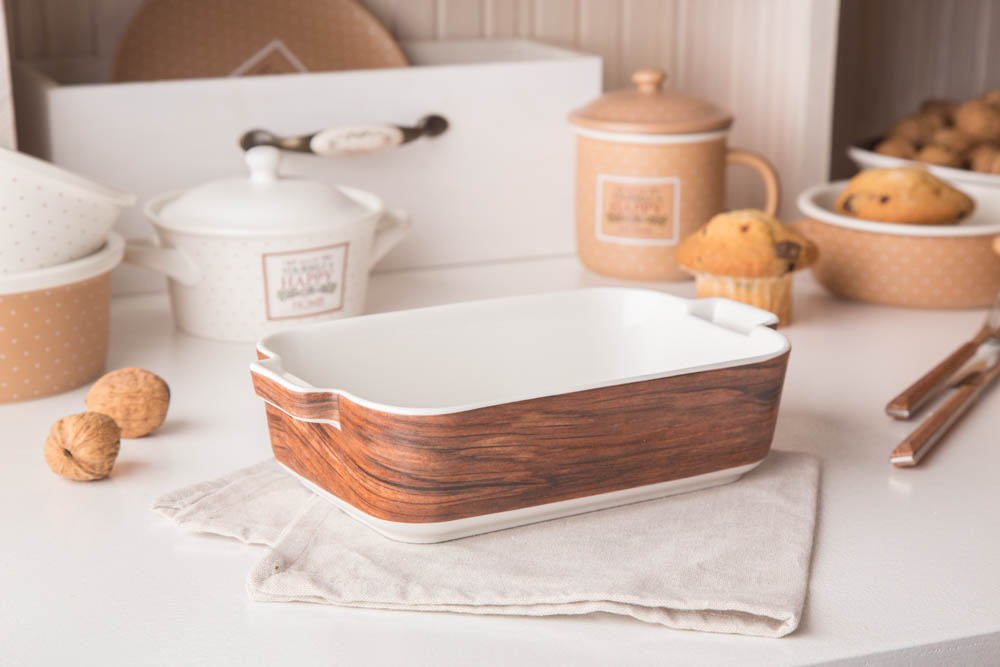 Naczynie do zapiekania porcelanowe Altom Design Happy Home 24 cm prostokątne dek. drewno