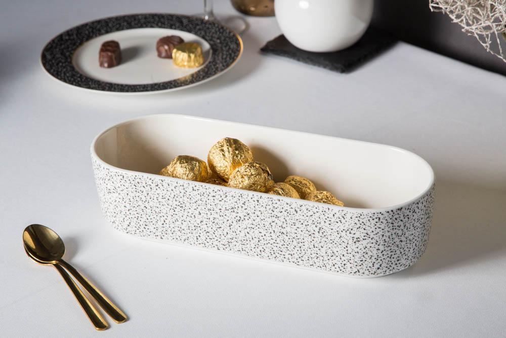 Naczynie do zapiekania porcelanowe Altom Design Granit 26 cm owalne białe