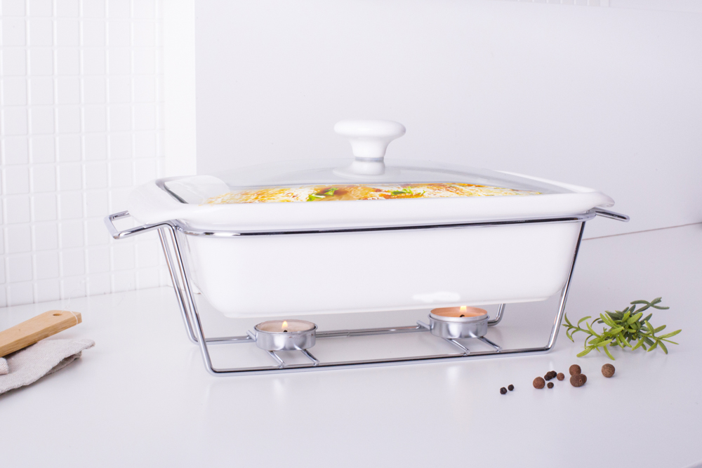 mesa casserole 2,1l with glass lid and warmer