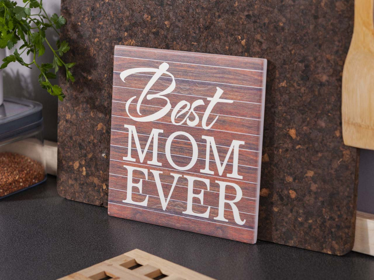 Deska dekoracyjna / podkładka pod garnek ceramiczna Altom Design Best Mom Ever 20 x 20 cm