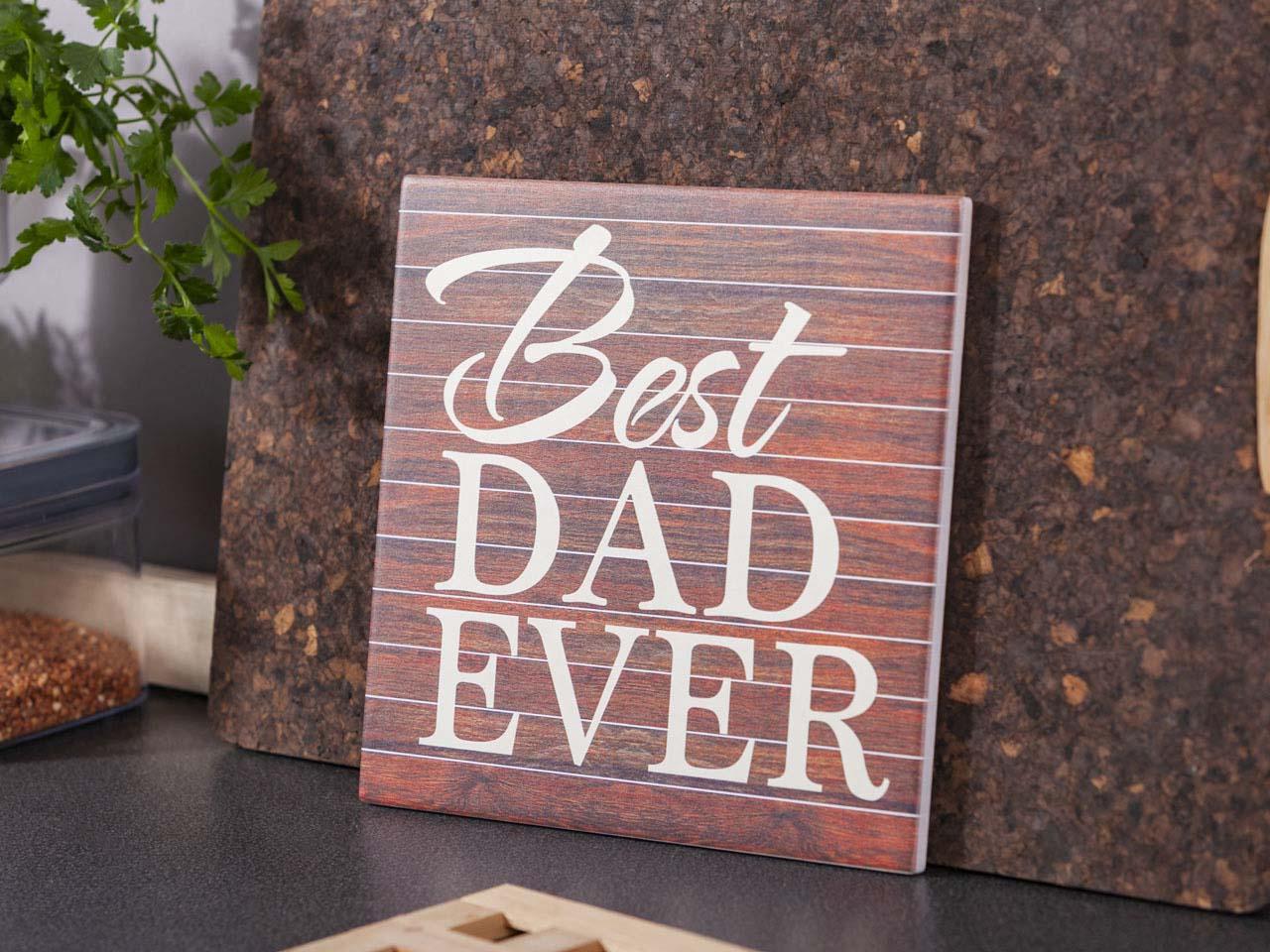 Deska dekoracyjna / podkładka pod garnek ceramiczna Altom Design Best Dad Ever 20 x 20 cm