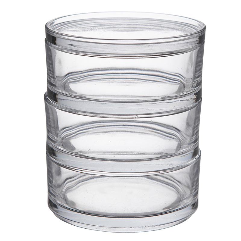 350 CC 3 PCS GLASS STAROGE BOWL SET WITH GLASS LID