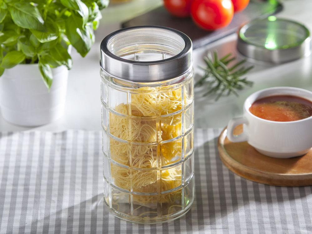 Słoik / pojemnik szklany w kratkę do przechowywania żywności Altom Design 1750 ml
