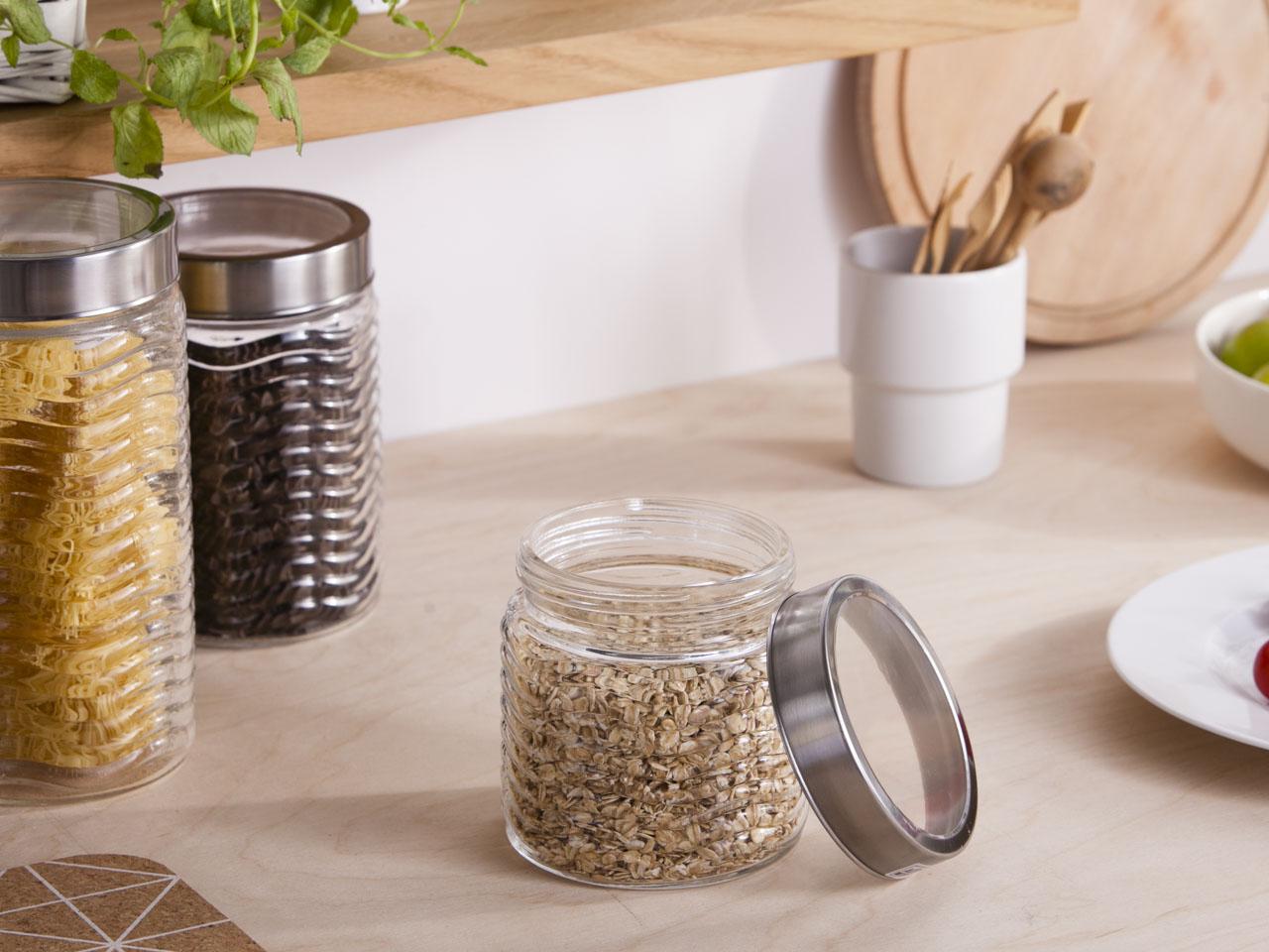 Słoik / pojemnik szklany fala do przechowywania żywności Altom Design 900 ml