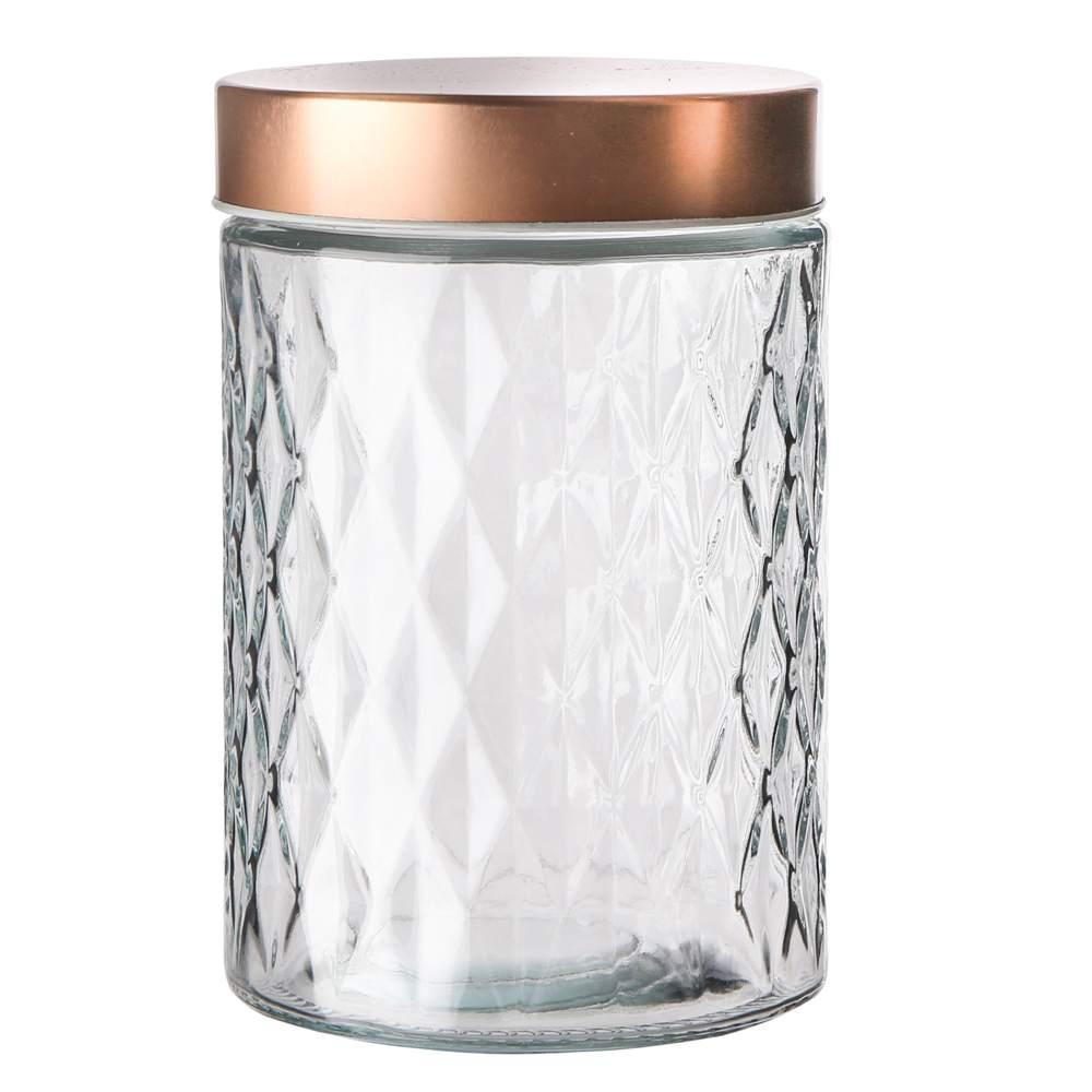 Pojemnik szklany na żywność, przyprawy i produkty sypkie Altom Design Karo Gold 1,2 l