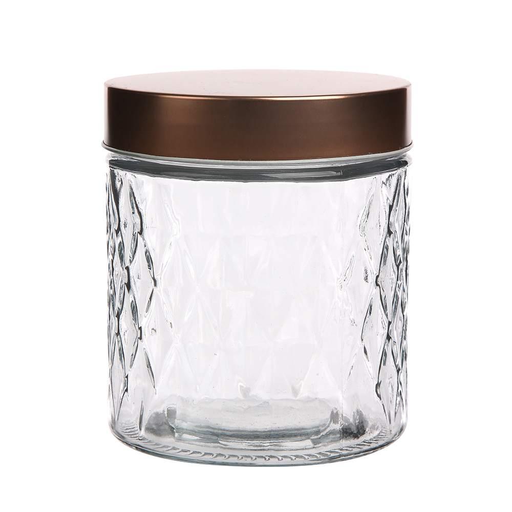 Pojemnik szklany na żywność, przyprawy i produkty sypkie Altom Design Karo Gold 0,8 l