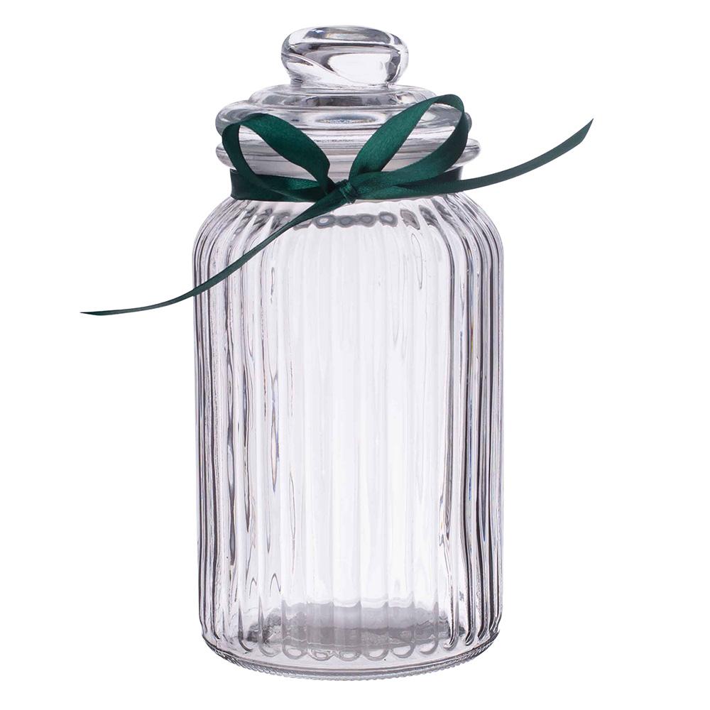 Storage jar 1250ml relief with green bowl
