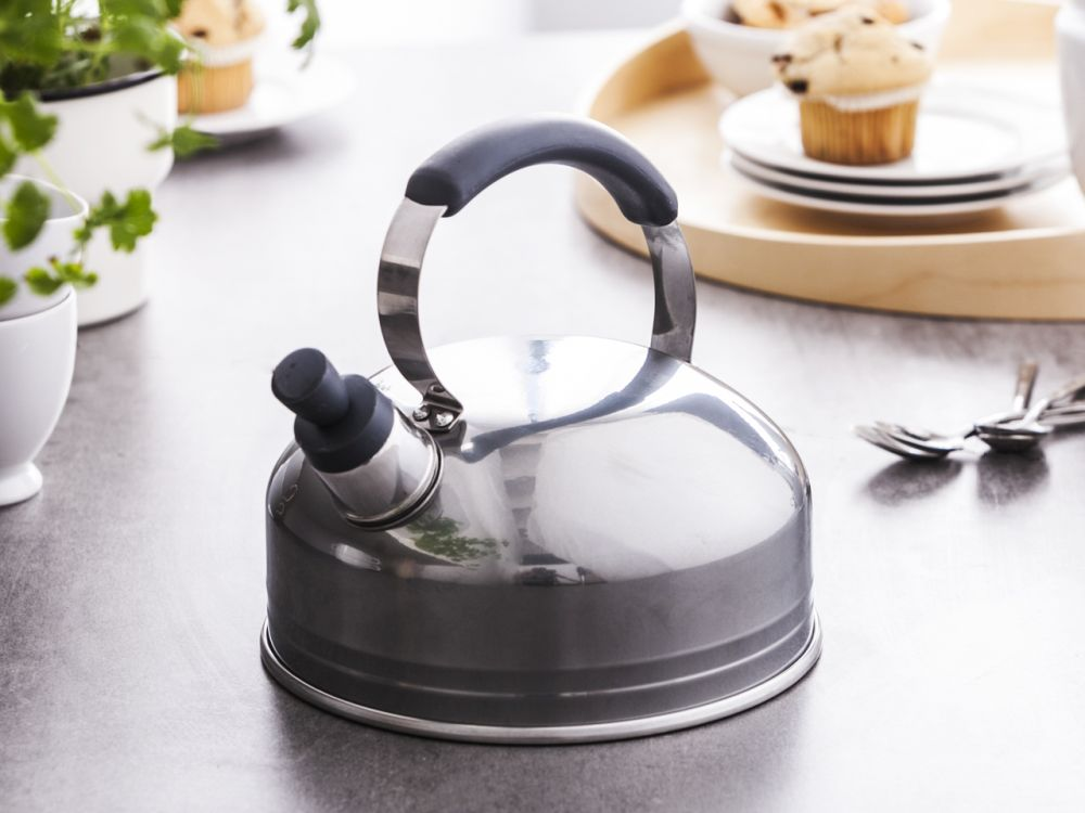 Kettle 2l solid handle transp. 200st silver