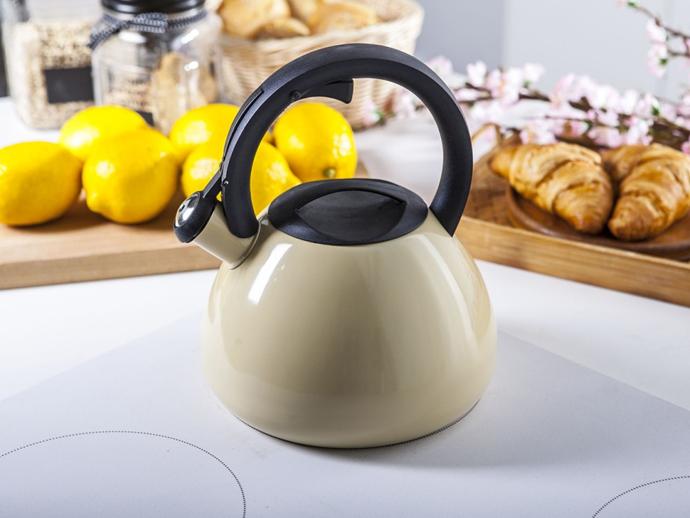 Stainless steel whistling kettle Talus cream 2,5l