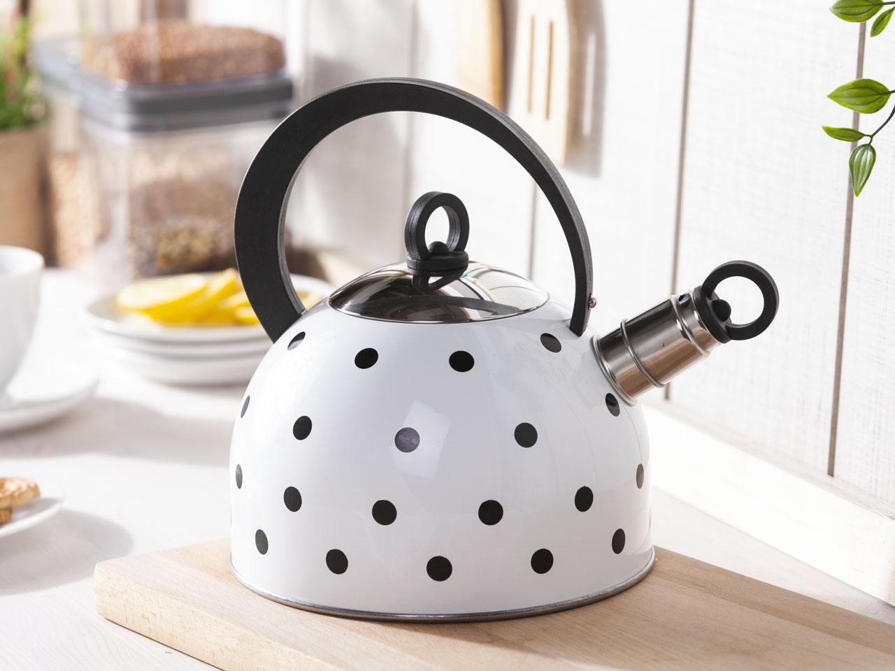 Czajnik nierdzewny na gaz i indukcję Altom Design Czarne Kropki 2,5 l