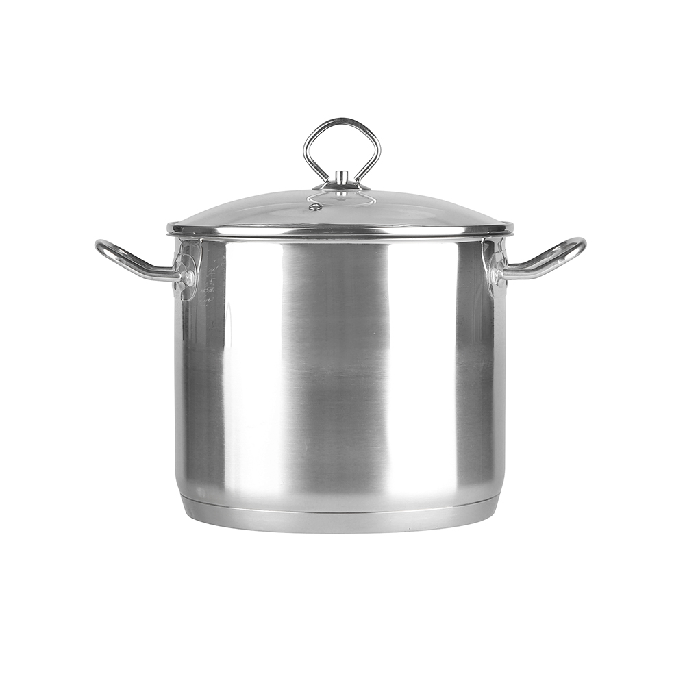 stainless steel stock pot 22cm with glass lid