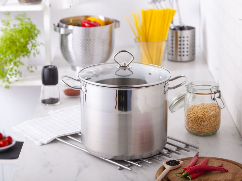 stainless steel stock pot 24cm with glass lid