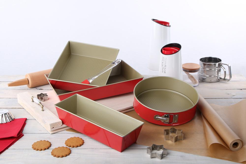 Keksówka, forma do pieczenia chleba i ciasta SNB czerwono-złota 30 cm x 11 cm