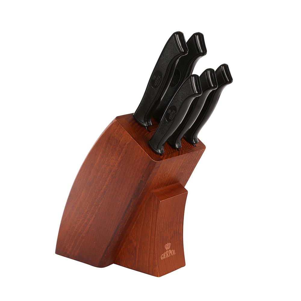 Noże kuchenne ze stali nierdzewnej Gerpol Onyks, komplet 5 noży w bloku