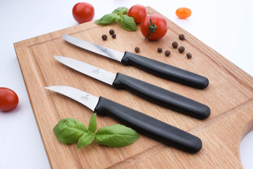 Nóż kuchenny uniwersalny ząbkowany czarny Gerpol Wiktor 8 cm