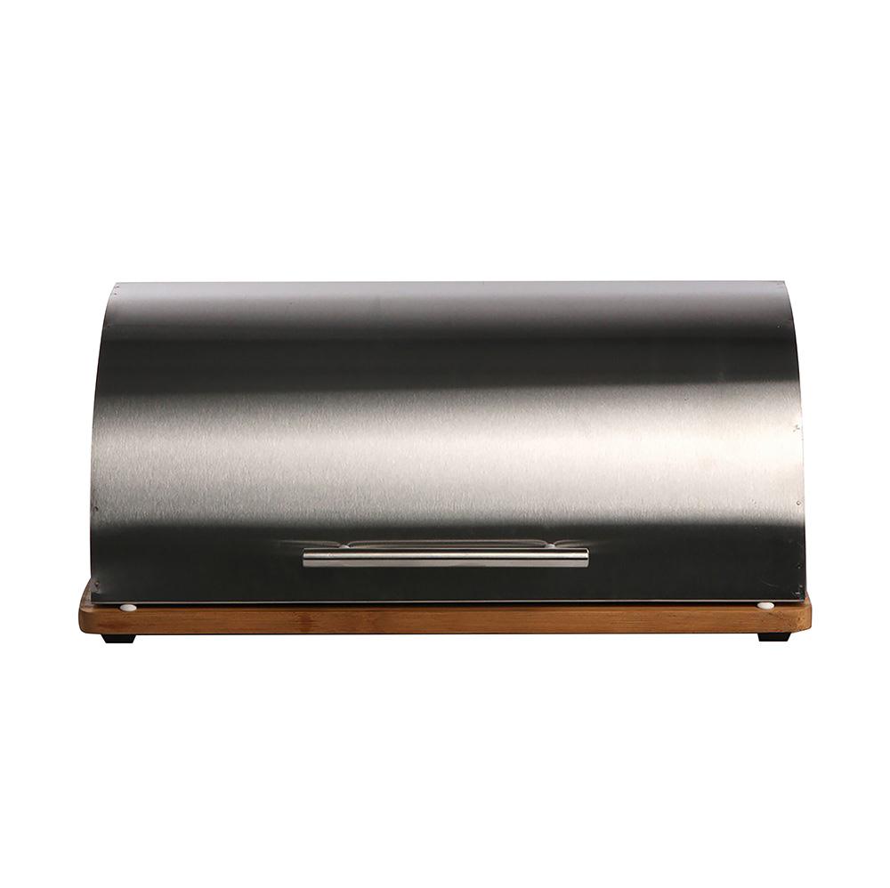 Chlebak nierdzewny z desce drewnianej Altom Design 39,2x30x16,2 cm