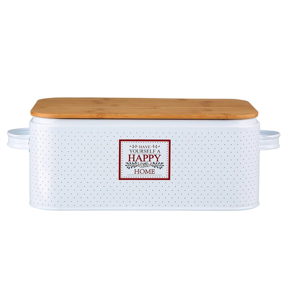 Chlebak / pojemnik na chleb i pieczywo metalowy z pokrywką bambusową Altom Design Victoria Home