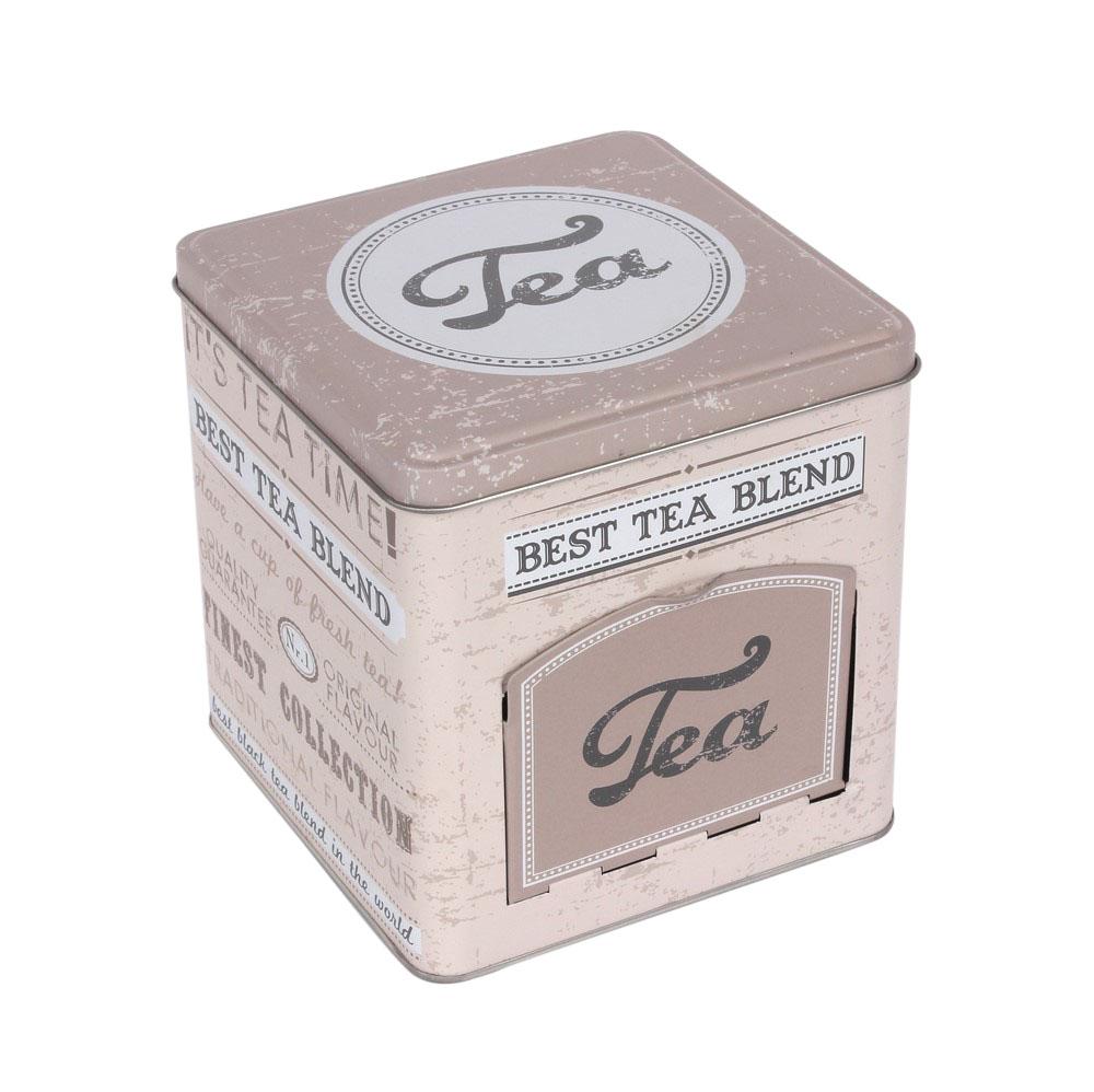 Puszka / pojemnik na herbatę Altom Design Beż kwadratowy z klapką 19 cm
