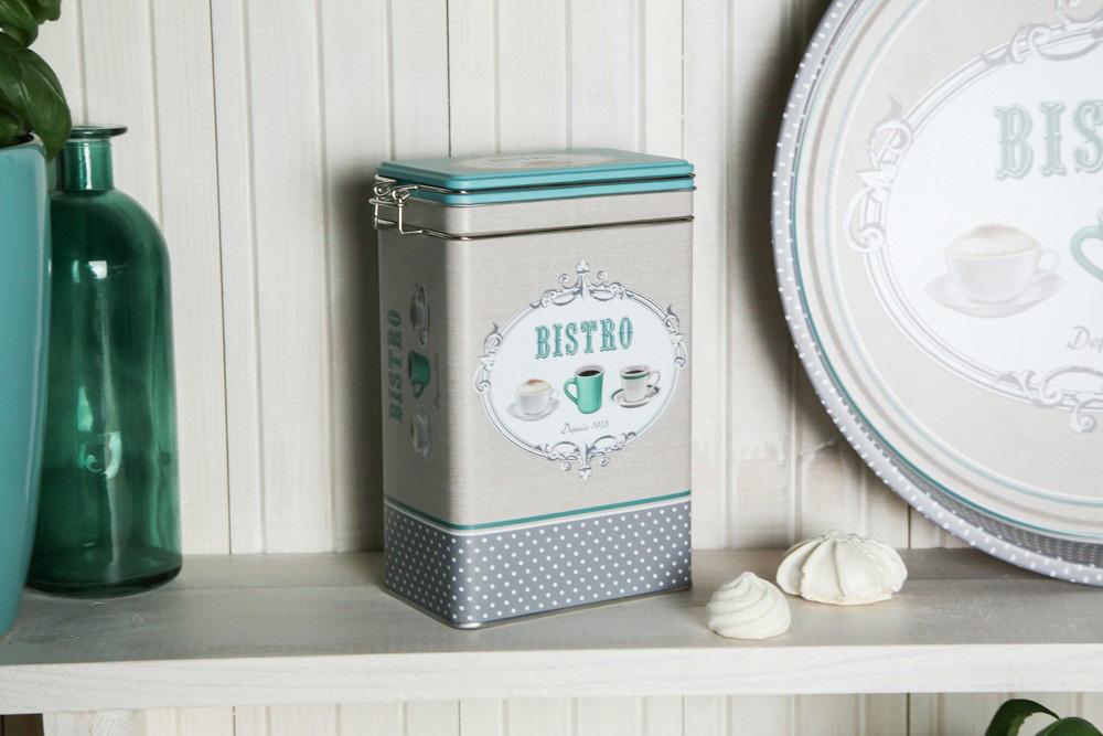 Puszka / pojemnik na kawę / herbatę Altom Design Bistro prostokątna z klipsem 12x8x19 cm