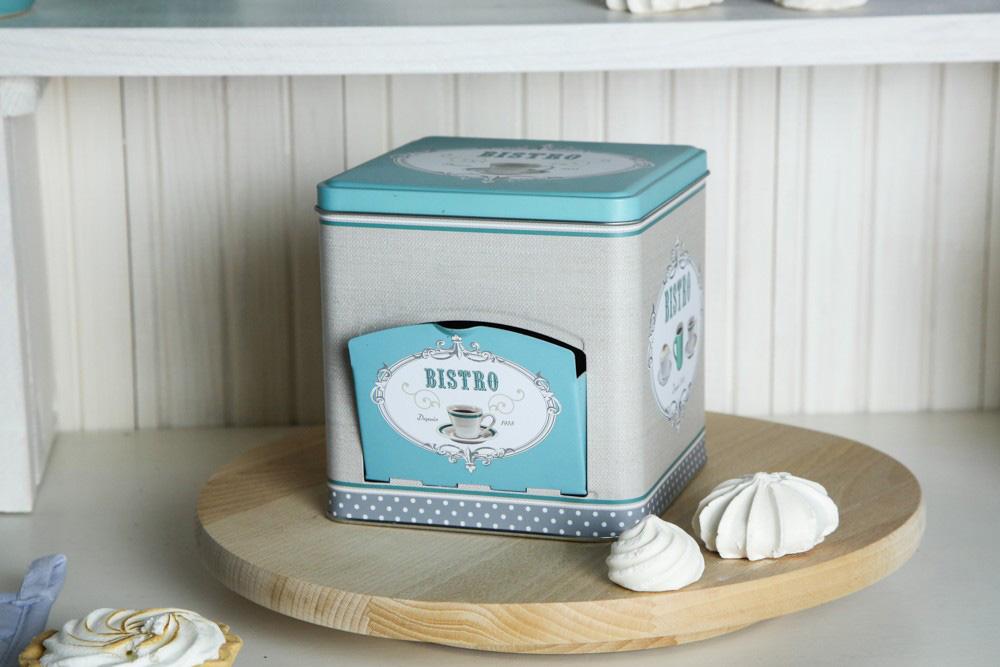 Puszka / pojemnik na kawę / herbatę Altom Design Bistro miętowa kwadratowa z klapką 13x13x13,2 cm