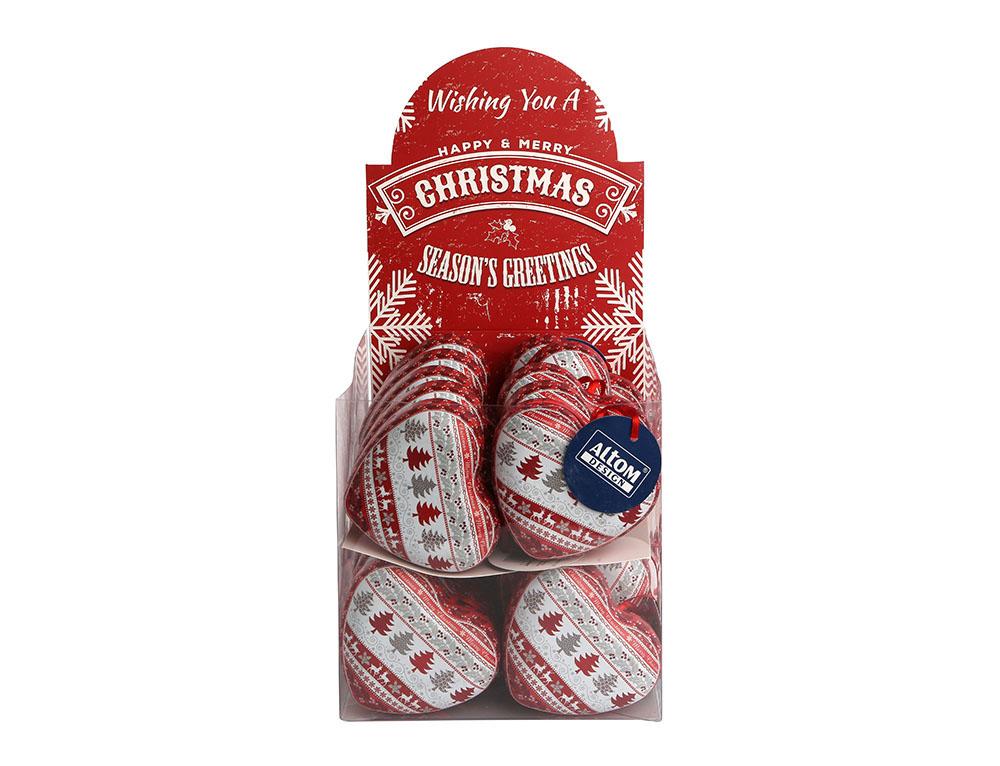 Ozdoba świąteczna na choinkę / zawieszka choinkowa metalowa / puszka na słodycze / do przechowywania Altom Design, dekoracja choinka, Serce 9x8x4 cm