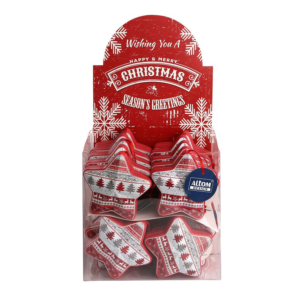 Ozdoba świąteczna na choinkę / zawieszka choinkowa metalowa / puszka na słodycze / do przechowywania Altom Design, dekoracja choinka, Gwiazdka