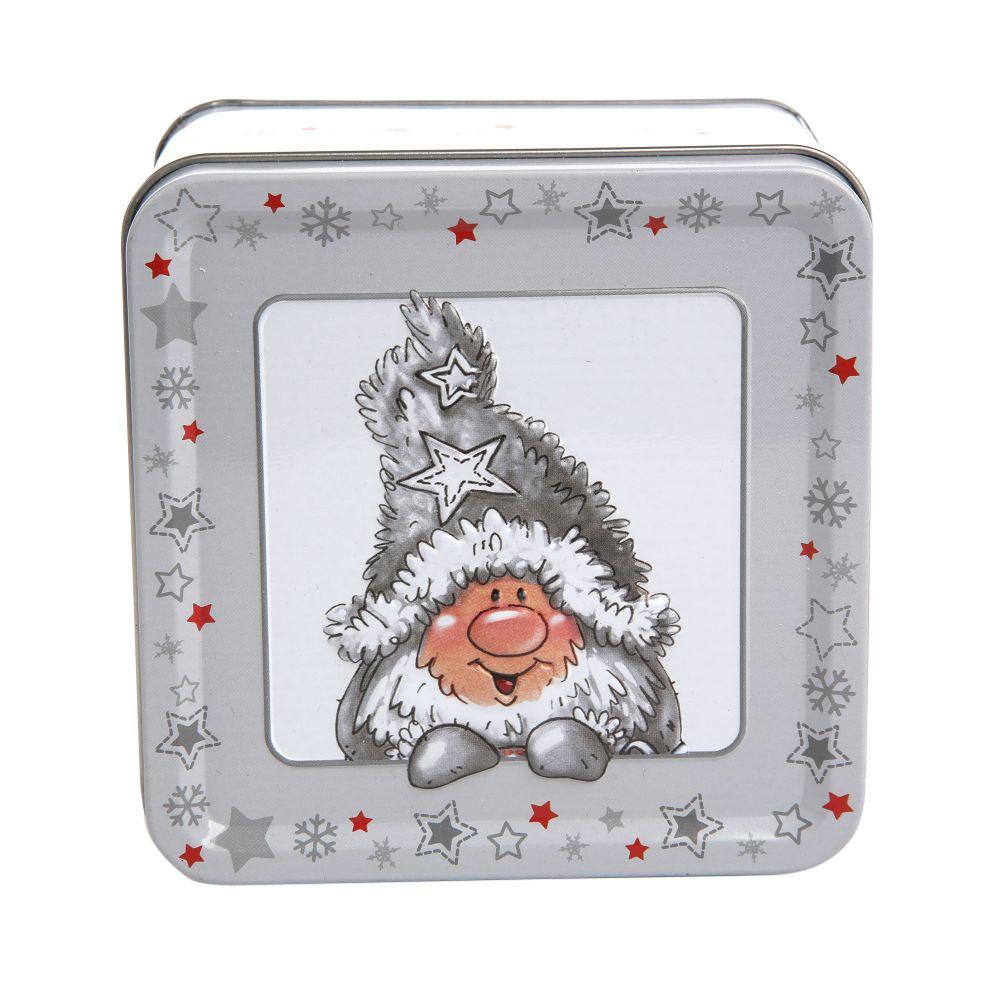 Puszka metalowa na pierniki / ciastka świąteczna Boże Narodzenie Altom Design Zimowe Skrzaty dek. I 7x10,5 cm